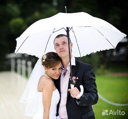 """Свадебный зонтик """"Белый"""". Зонт от дождя, в прокат купить в HC12"""
