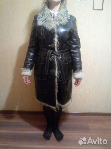 f985239d084 Зимнее кожаное пальто с мехом волка