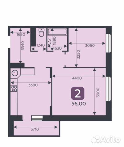 2-к квартира, 56 м², 7/15 эт.