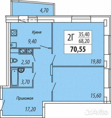 2-к квартира, 72.6 м², 8/16 эт.