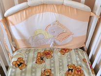 Кровать с матрасом, бортиками и балдахином