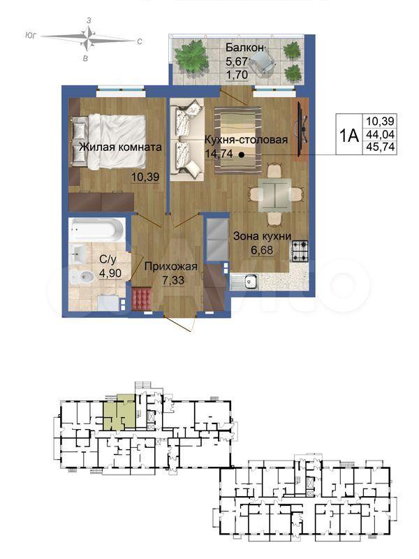 2-к квартира, 45.7 м², 1/10 эт.  89129913985 купить 4