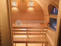 Готовая баня с арочными окнами