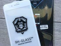 Стекло 5d для iPhone 7+ (белая рамка )