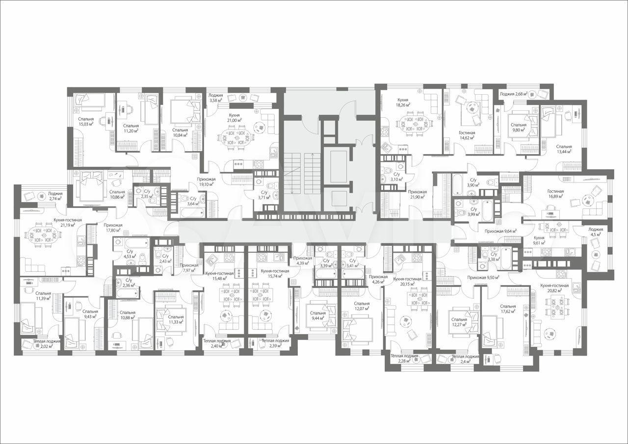 1-к квартира, 42 м², 4/19 эт.  88314107670 купить 2